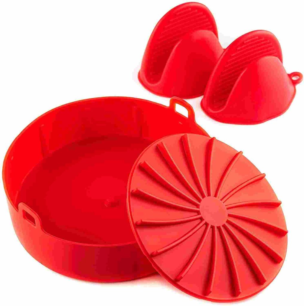 Air Fryer Silicone Pot with mini oven mitts